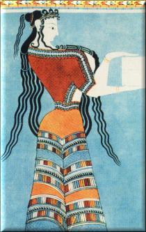 Dama tirinta, arte minoico